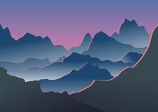 在雾的蓝色山 也corel凹道例证向量 库存照片