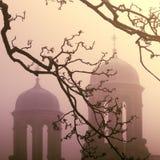在雾的被放弃的塔 库存照片