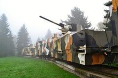 在雾的装甲列车 库存图片
