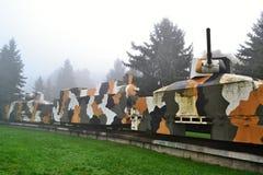 在雾的装甲列车 免版税库存照片