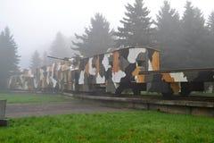 在雾的装甲列车 库存照片