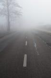 在雾的路 免版税库存照片
