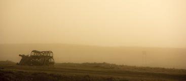 在雾的龙虾笼子 免版税库存图片