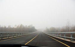 在雾路的汽车 库存照片