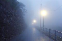 在雾黎明的路 库存照片