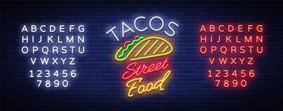 在霓虹样式的炸玉米饼商标 霓虹灯广告,明亮的广告牌,墨西哥食物炸玉米饼每夜的广告  墨西哥街道食物 库存例证