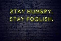 在霓虹灯广告的正面富启示性的行情反对愚蠢砖墙逗留饥饿的逗留 库存例证