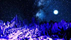 在霓虹灯的抽象谷 o 与明亮的光照亮的锋利的冰砾谷的计算机空间  皇族释放例证