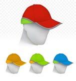 在霓虹颜色的安全帽在时装模特头 免版税库存照片