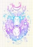 在霓虹颜色的美丽的手拉的部族样式鹿被隔绝的 导航用花卉元素、月亮和星装饰的鹿头 S 库存照片