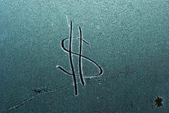 在霜的美元的符号 免版税图库摄影