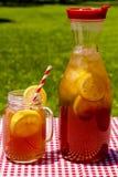 在露台的新鲜的酿造的冰茶 免版税库存图片