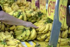 在露天市场摊位的消费者审查的香蕉 图库摄影