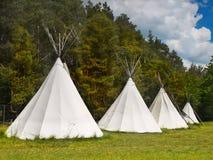 在露营地的帐篷 库存照片
