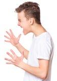 在青少年的男孩的白色T恤杉 免版税图库摄影