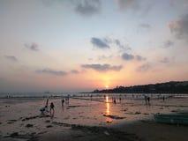 在青岛海岸的日落  库存图片