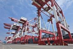 在青岛,中国港的巨型的起重机  免版税库存照片