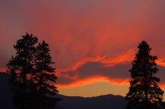 在青玉山的日落,蒙大拿 库存图片
