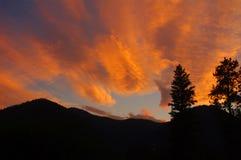 在青玉山的日落,蒙大拿 免版税库存照片