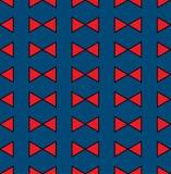 在靛蓝色无缝的样式背景的红色丝带 也corel凹道例证向量 库存图片