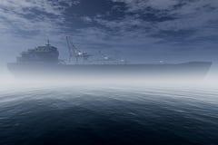 在非常有雾的行业端口3D的货船回报1 免版税图库摄影