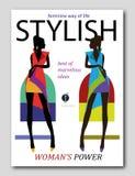 在非洲样式的抽象妇女剪影 时装杂志盖子设计 库存例证