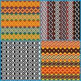 在非洲种族主题的四件无缝的装饰品 免版税库存图片