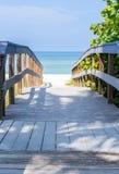 在靠岸的海燕麦中的木板走道在佛罗里达 免版税库存照片