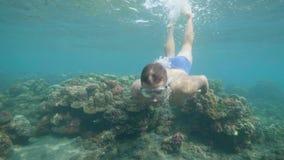 在面具的人freediver是潜水和游泳在热带海底上的水中 热带假期概念 影视素材