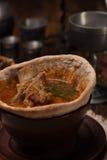在面包供食的传统乌克兰汤 库存照片