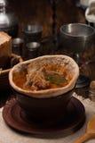 在面包供食的传统乌克兰汤 免版税图库摄影