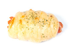 在面包包裹的微型热狗 库存照片