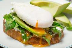 在面包片的荷包蛋用鲕梨和芝麻菜 图库摄影