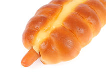 在面包的香肠 图库摄影
