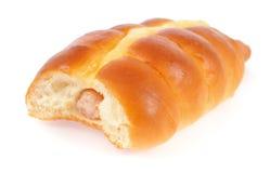 在面包的香肠 免版税库存图片