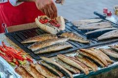 在面包,伊斯坦布尔的鱼 免版税库存图片