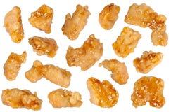 在面团和调味汁的鸡肉 库存照片
