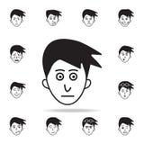在面孔象的兴奋 详细的套面部情感象 优质图形设计 其中一个网站的汇集象, 向量例证