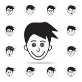 在面孔象的得意扬扬 详细的套面部情感象 优质图形设计 其中一个网站的汇集象, 向量例证
