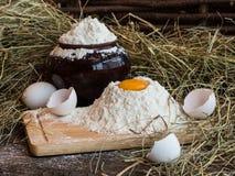 在面粉的卵黄质 残破的鸡蛋 白鸡蛋 在泥罐的面粉 免版税库存图片