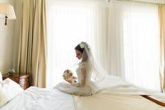 在面纱下的愉快的时髦的新娘在豪华白色礼服坐床在窗口附近 免版税库存照片