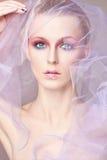 在面纱下的时尚美丽的妇女 免版税库存图片