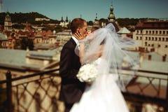 在面纱下的结婚的亲吻在一种伟大的都市风景的前面 免版税库存图片
