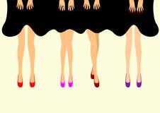 在鞋子例证的女性脚 免版税库存照片