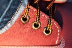在鞋子的鞋带 免版税库存照片