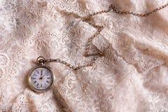 在鞋带的古色古香的手表 免版税库存图片