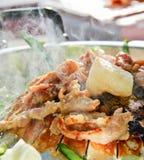 在韩国样式的格栅猪肉 免版税库存照片