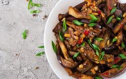 在韩国样式的热的辣炖煮的食物茄子用葱 免版税图库摄影