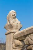 在韩国样式的老狮子石头雕塑 免版税库存图片