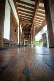 在韩国tranditional小屋的木地板 免版税库存图片